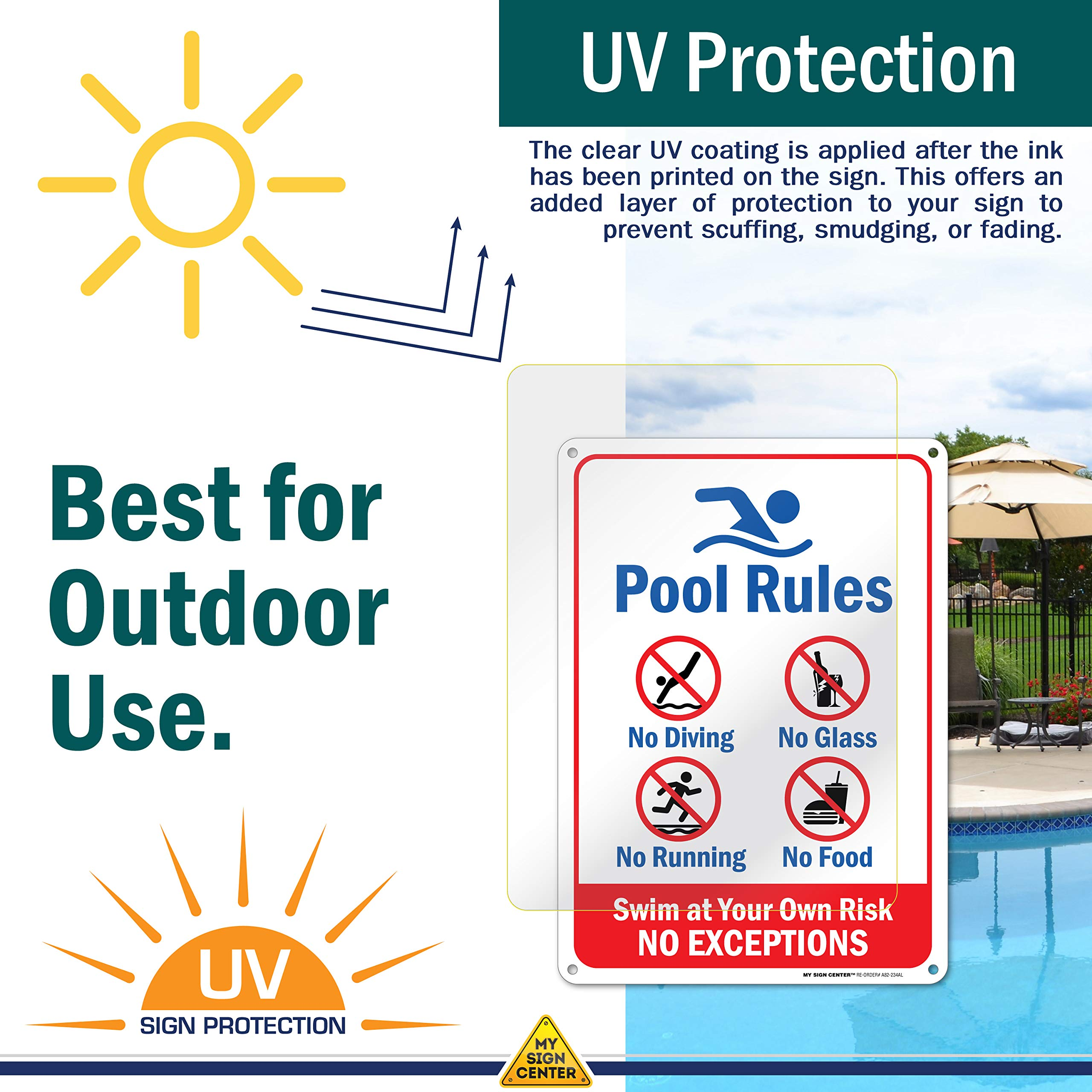 Heavy Duty Metal 21144E3-A4 Do Not Pee in Pool Sign Welcome ...