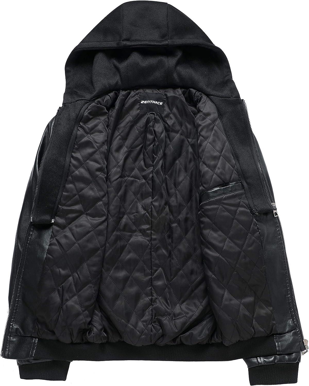 ZENTHACE Mens Full-Zip Faux Leather Hooded Motorcycle Jacket Outdoor Wear Coat