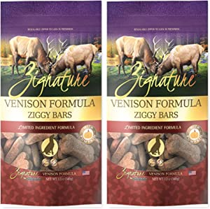 Zignature Venison Ziggy Bars Dog Treats 12 Ounce Bag. (New) 2 Pack
