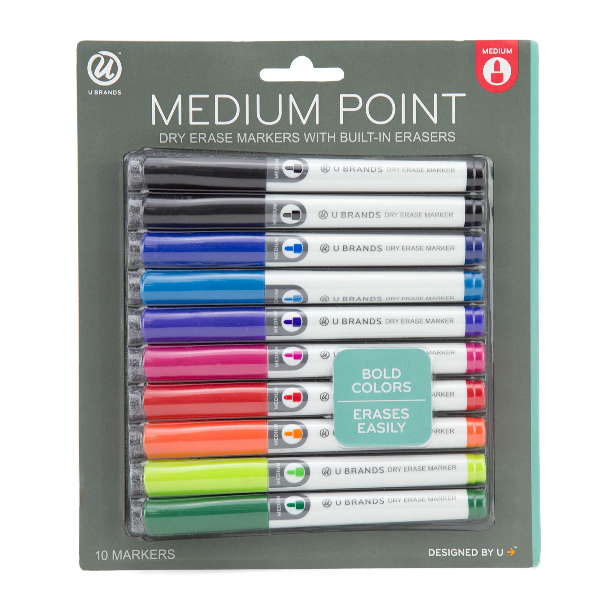 U Brands Low Odor Dry Erase Markers, Medium Point, Assorted Colors, 10-Count by U Brands (Image #1)
