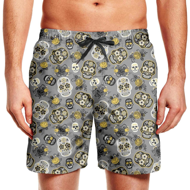 CCBING Colorful Skull Skeletons Loungefly Calavera Printed Mens Casual Beach Swim Trunk Drawstring Elastic Waist Swimwear