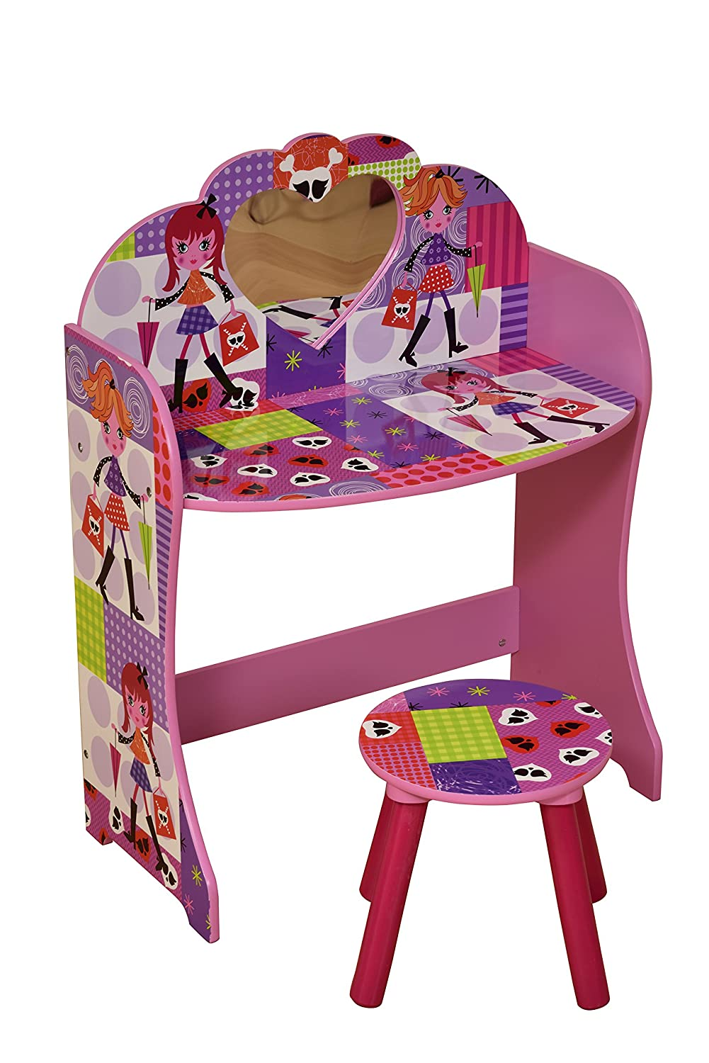 Liberty House Toys Fashion Girl Dressing Table and Stool Set, Wood, Multi-Colour MZ4616