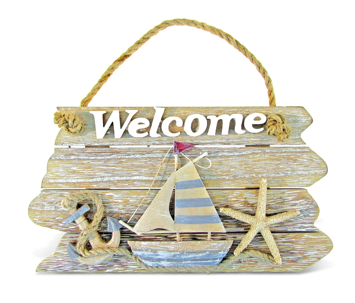 "Puzzled Vintage Nautical Wooden Welcome Front Door Sign, 9.75"" x 5.5"" Decorative Rope Handle Ornament Plaque Sailboat Starfish Anchor Indoor Outdoor Porch Garden Cafe Store - Beach Theme Home Decor"