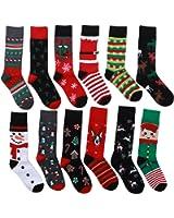12 Pairs Unisex Premium Cotton Christmas Pattern Dress Socks with Christmas Gift Bag