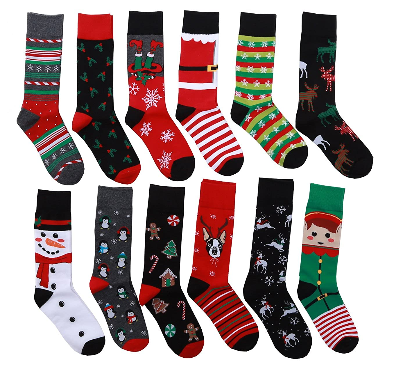 12 Pairs Unisex Premium Cotton Christmas Pattern Dress Socks with Christmas Gift Bag