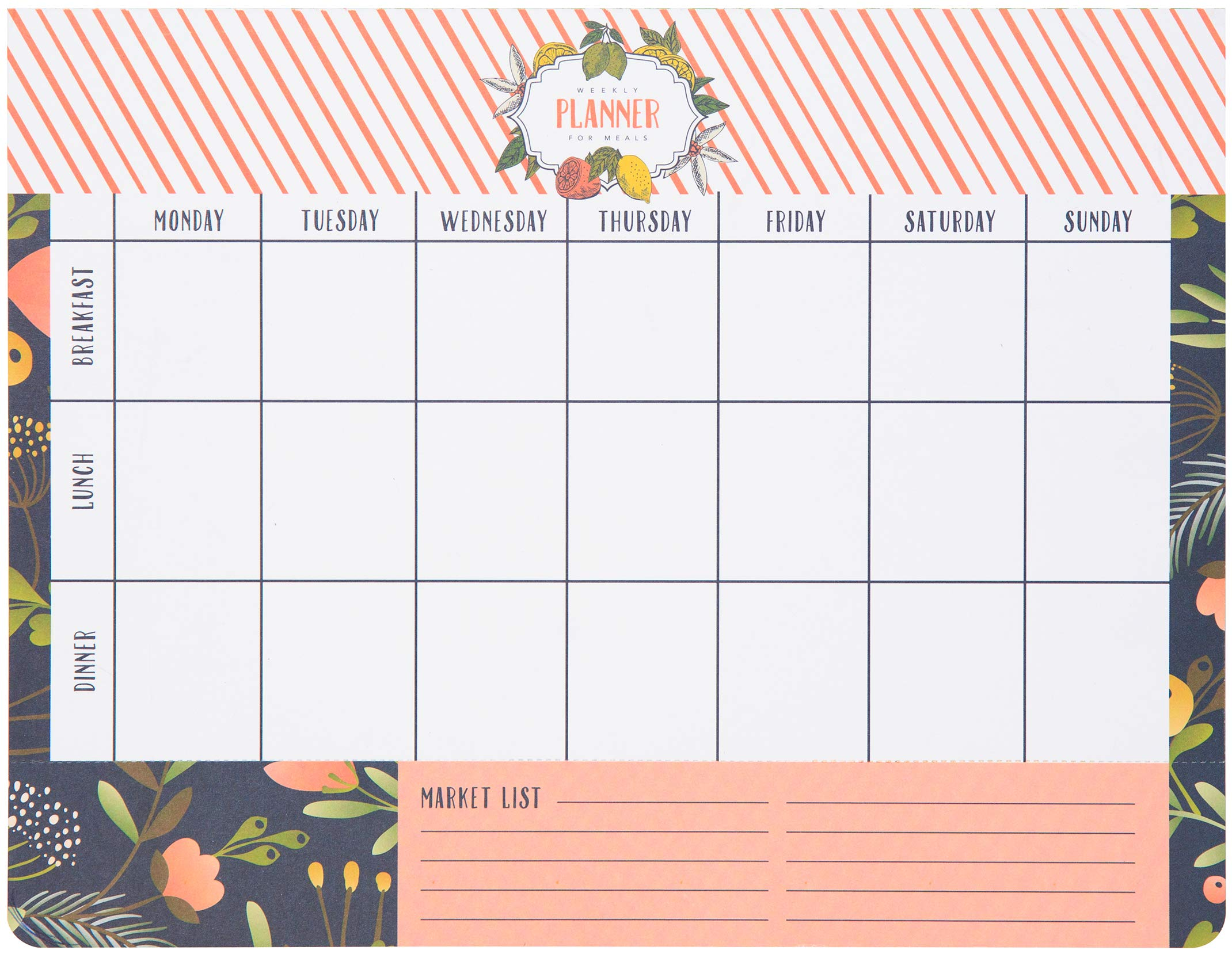 C.R. Gibson Pink Floral Weekly Meal Planner and Grocery List Notepad, 50 Pages, 11'' x 8.5'' (QMP-18689)