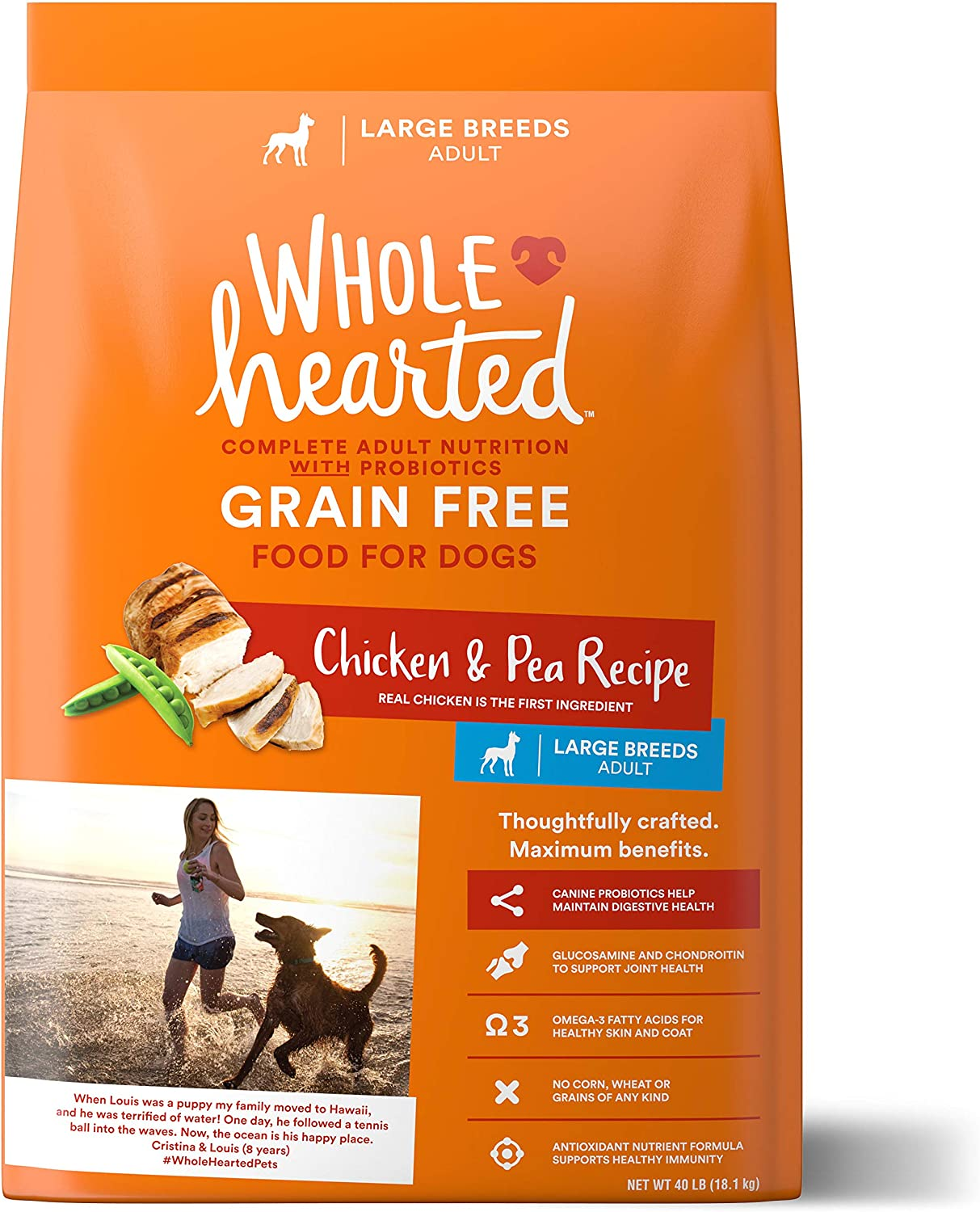 WholeHearted Grain Free Large Breed Chicken and Pea Recipe Adult Dry Dog Food, 40 lbs.