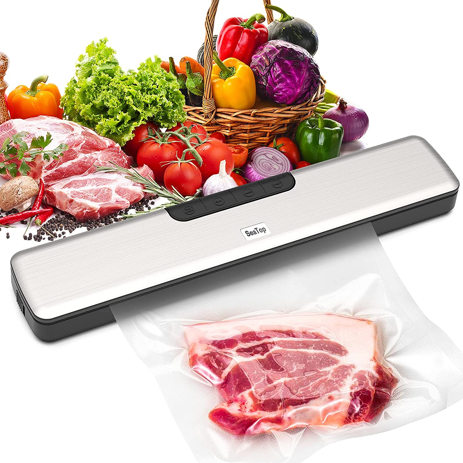 Food Vacuum Sealer Machine, Automatic Food Saver Machine with 15 PCS Vacuum Bags for Food Preservation with Starter Kit|Led Indicator Lights|Easy to Clean|Dry & Moist Food Modes Silver