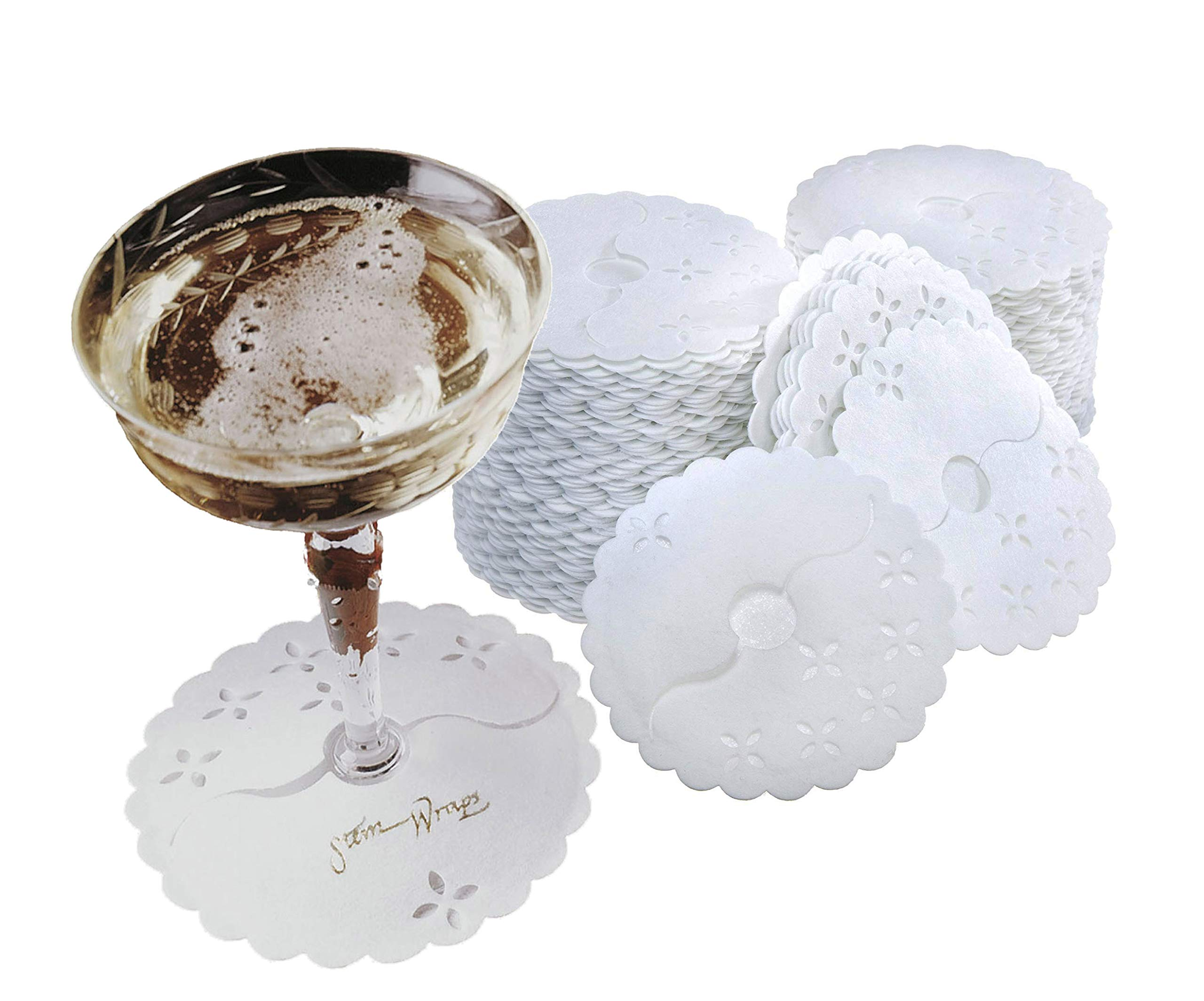 Regency Stem Wraps for the bases of stemmed glasses,  Bag of 125 Disposable Fabric Covers