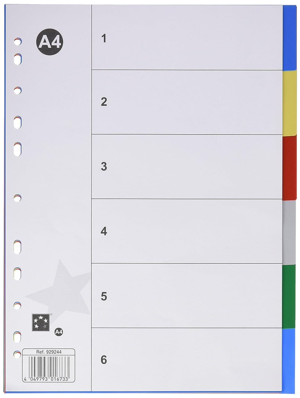 5 Star 929244 - Separadores de polipropileno, 6 posiciones, multicolor: Amazon.es: Oficina y papelería