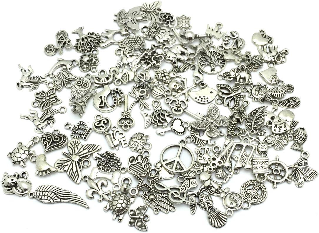 Wholesale 100pcs Retro Silver Charm Tibetan Pendants Mixed in BULK Jewelry DIY