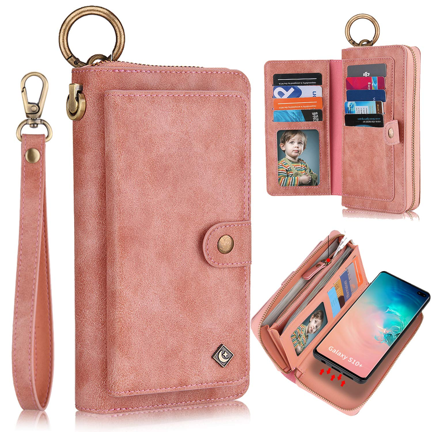 Galaxy S10 Case, XRPow [2 in 1] Magnetic Detachable S10 Wallet Case [Vegan Leather] Zipper Wallet Folio Flip Card Solt [Wrist Strap] Purse Protection Back Cover for Samsung Galaxy S10 - Rose Gold by XRPow