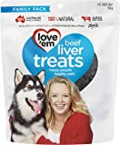 Love 'Em Beef Liver Dog Treats 250g, Small/Medium/Large, Puppy/Adult