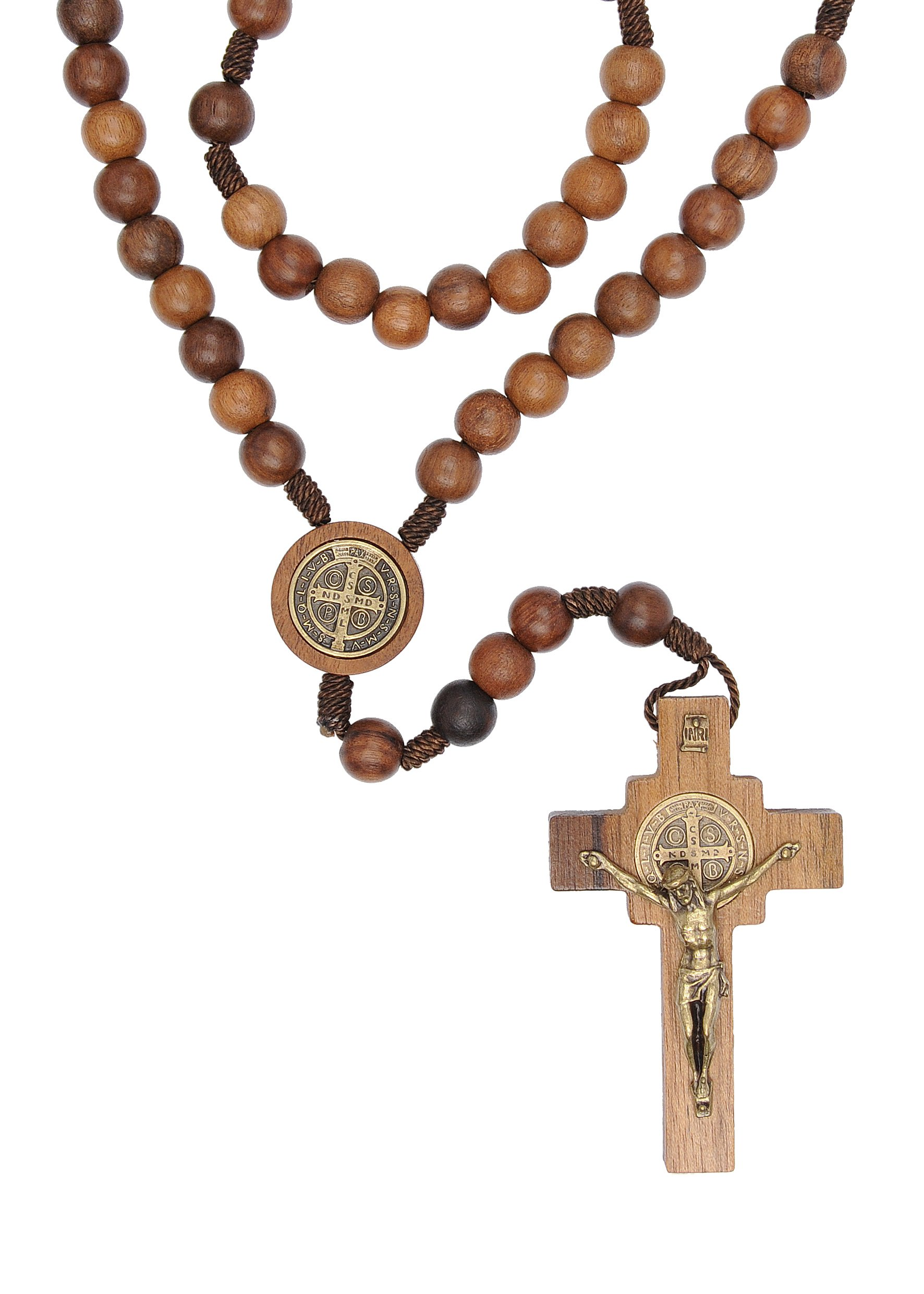 St Benedict Mens Large Intercession Rosary - Made in Brazil (Walnut)