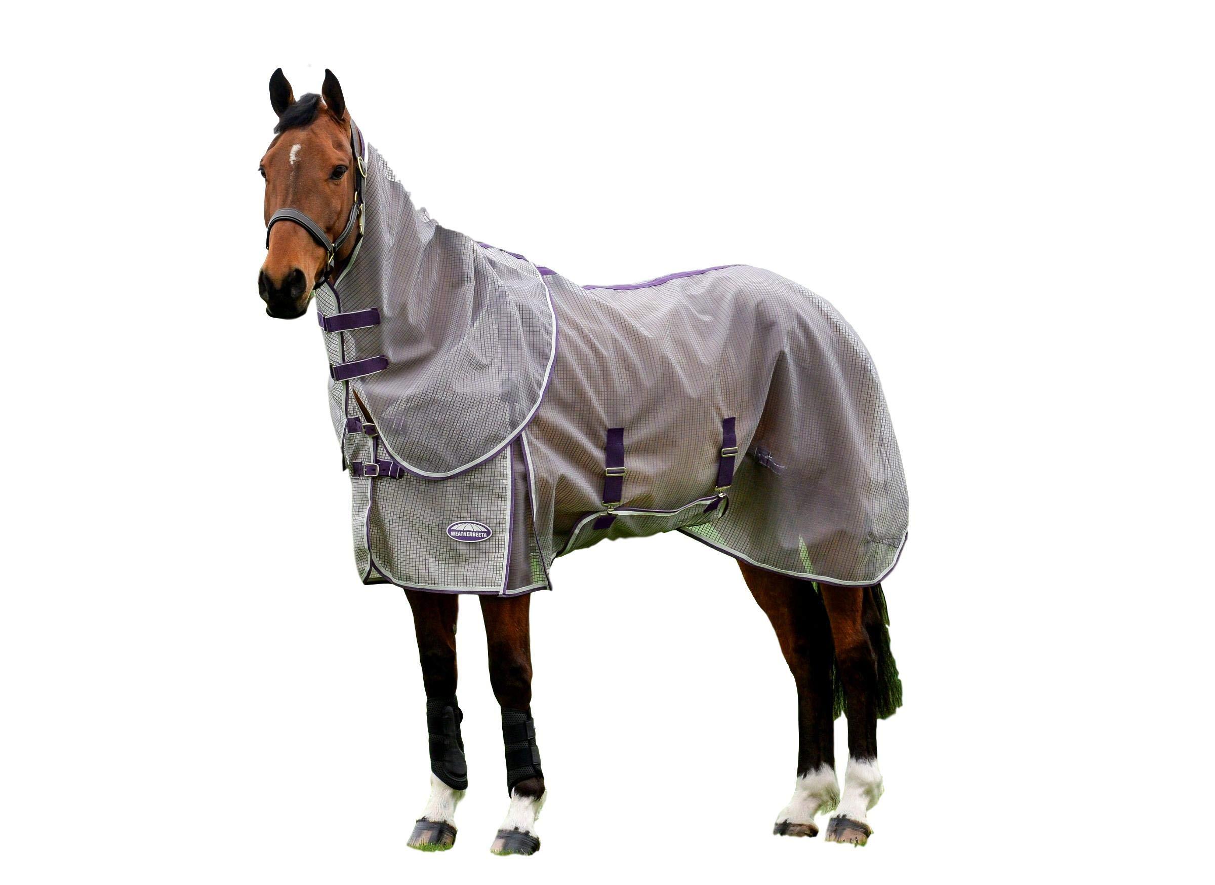 Weatherbeeta Comfitec Ripshield Plus with Belly Wrap Detach A Neck, Grey/Purple, 75''