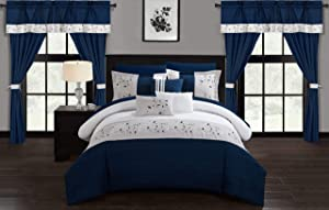 Chic Home Sonita 20 Piece Comforter Set, Queen, Navy