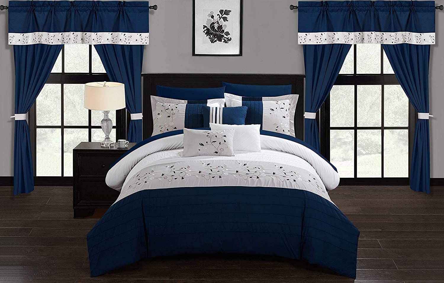 Chic Home Sonita 20 Piece Comforter Set Color Block Floral Embroidered Bag Bedding-Sheets, King, Navy