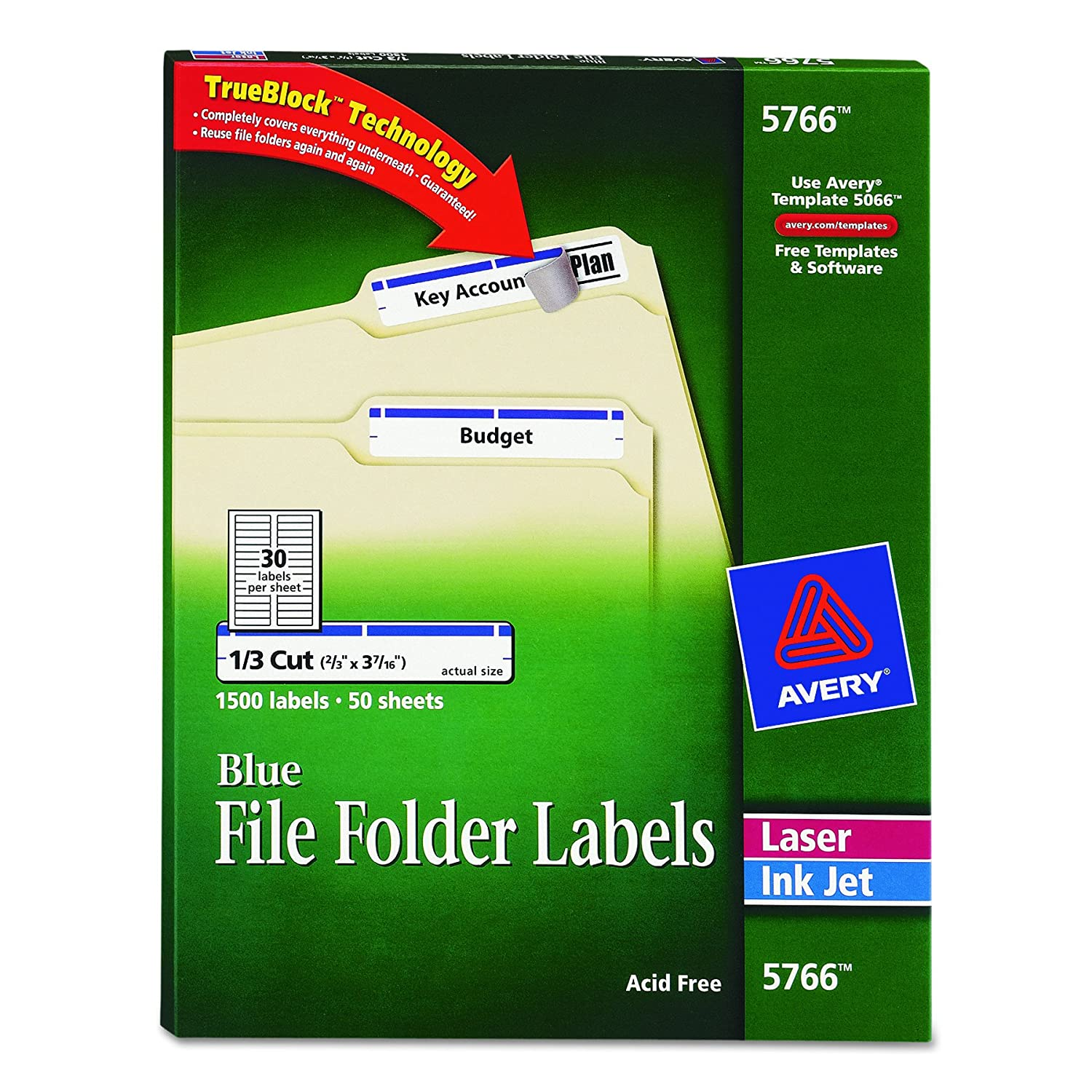 Amazon avery blue file folder labels for laser and inkjet amazon avery blue file folder labels for laser and inkjet printers with trueblock technology 23 inches x 3 716 inches box of 1500 5766 office saigontimesfo