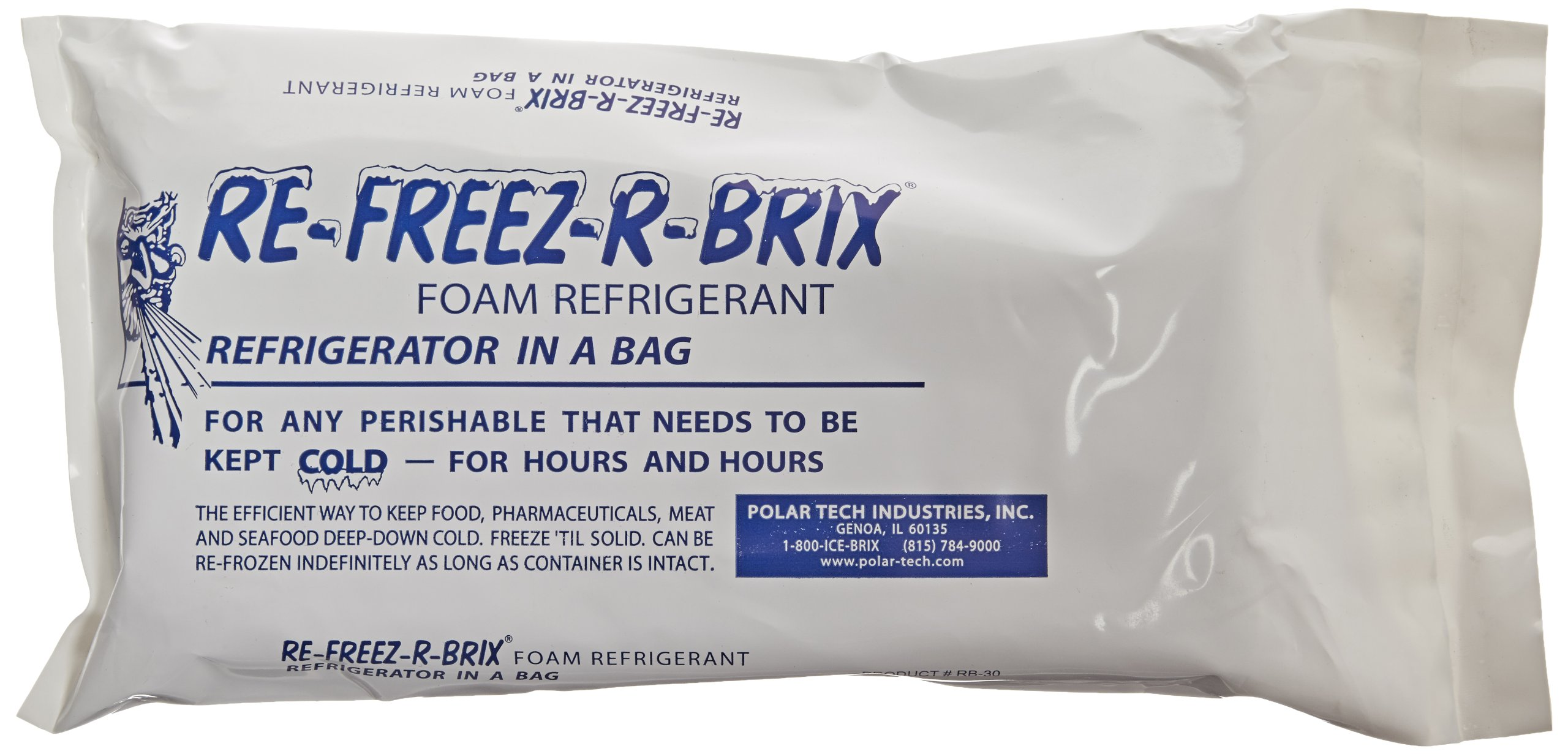 Polar Tech RE-FREEZ-R-BRIX RB30 Foam Refrigerant Packs, 31oz Capacity (Case of 6)
