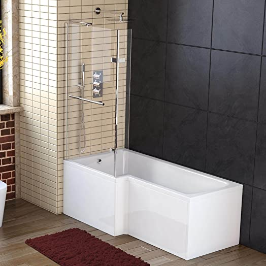 1700 Mm Left Hand L Shaped Straight Shower Bath With Screen Side