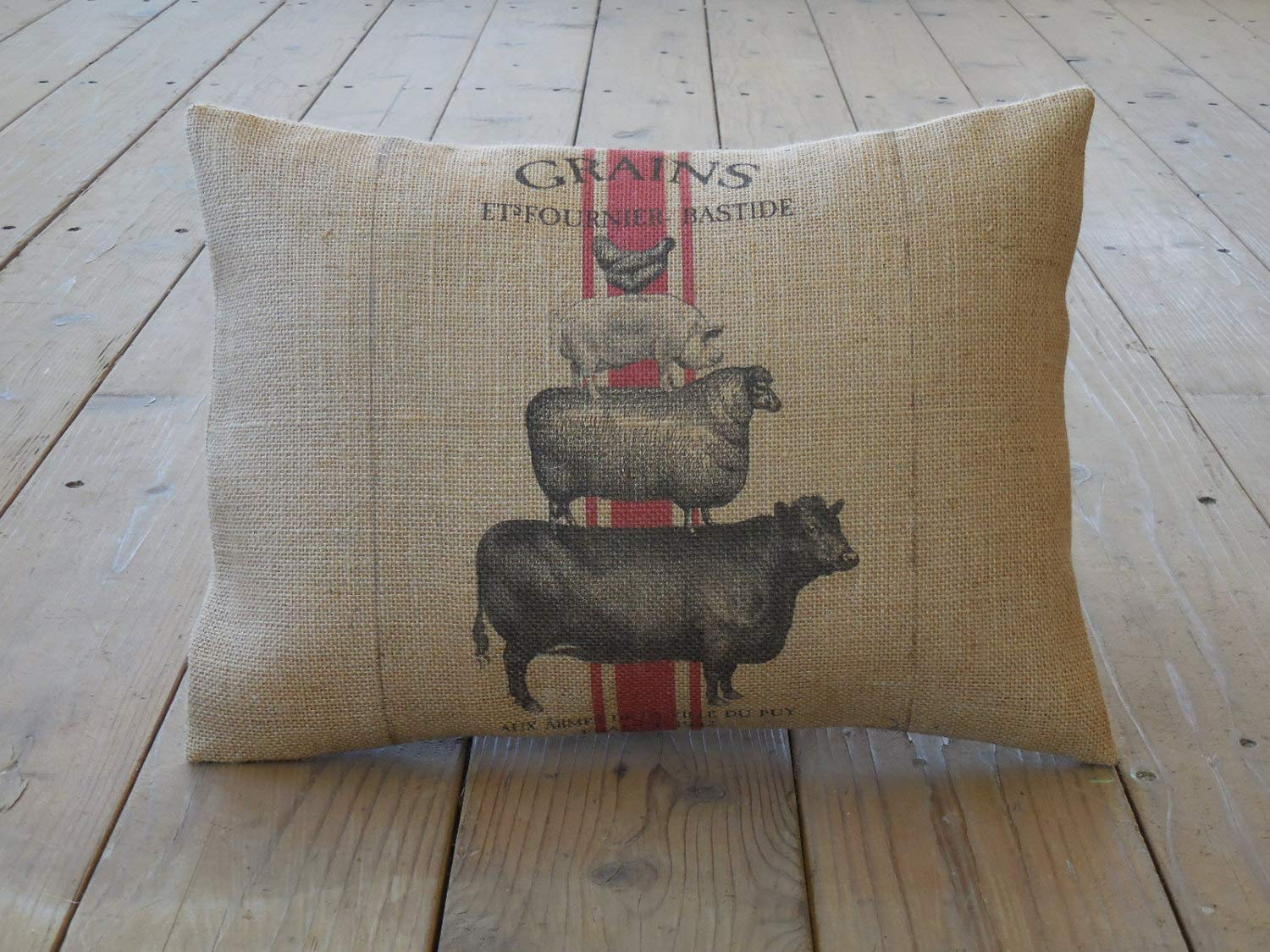 alerie Sassoon Animal Stack Burlap Pillowcase Chicken Pig Sheep Cow Farmhouse Pillowcase s Farm French Country Shabby Chic