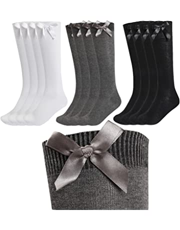 Girls//Kids Knee High Socks Bow Cotton Rich White Grey Black Navy Long School Socks Babies Smart Formal