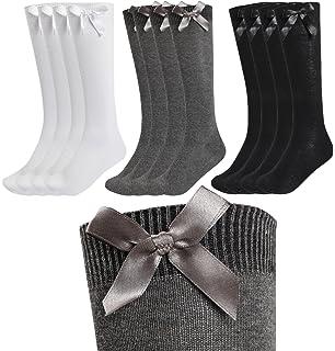 Kids Girls Plain Knee High School Cotton Rich Socks With Bow Ribbon 3 Pairs