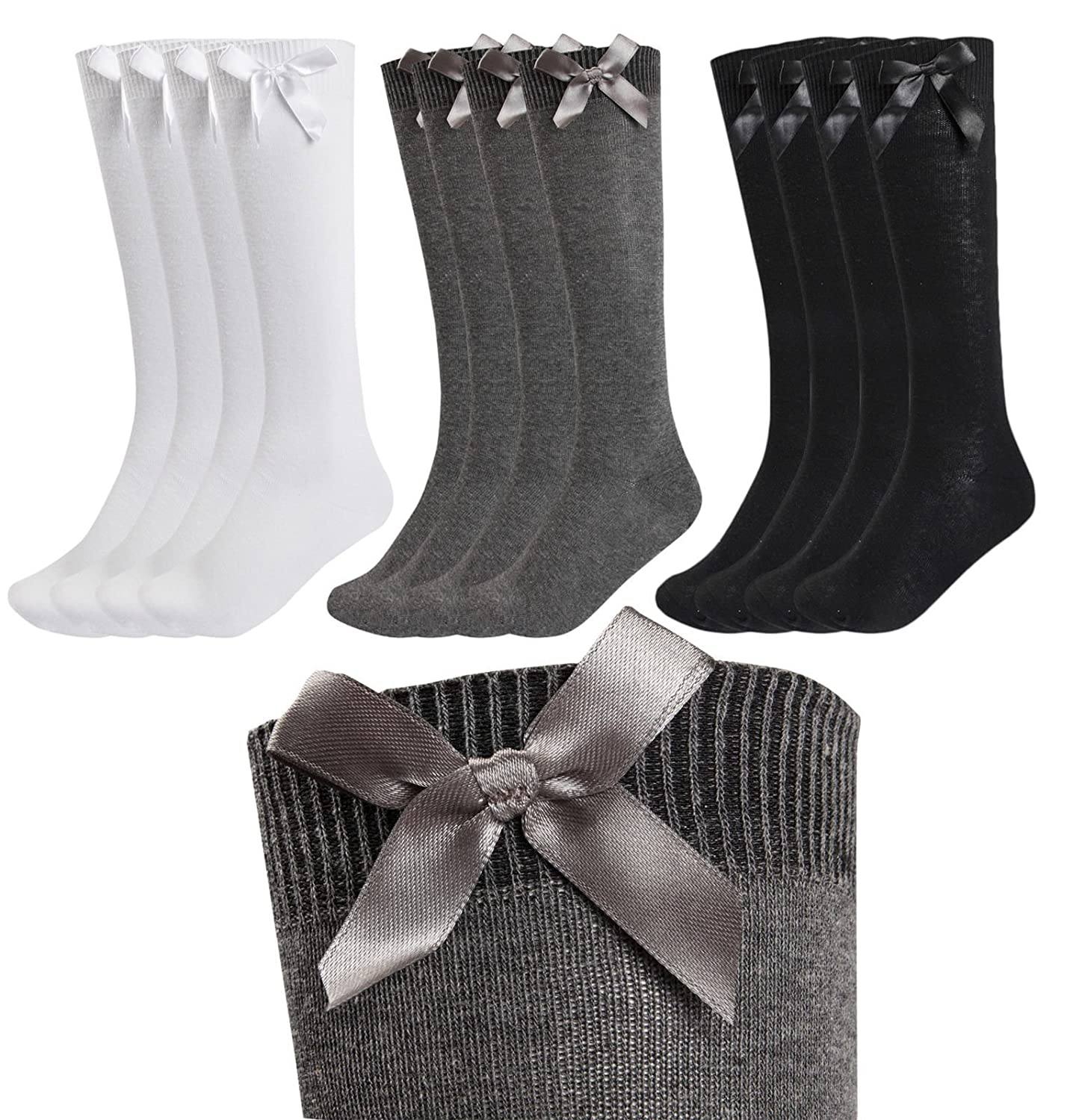 3 PAIRS GIRLS FASHION COTTON KNEE HIGH CHILDREN KIDS SCHOOL SOCKS WITH BOW SIZE