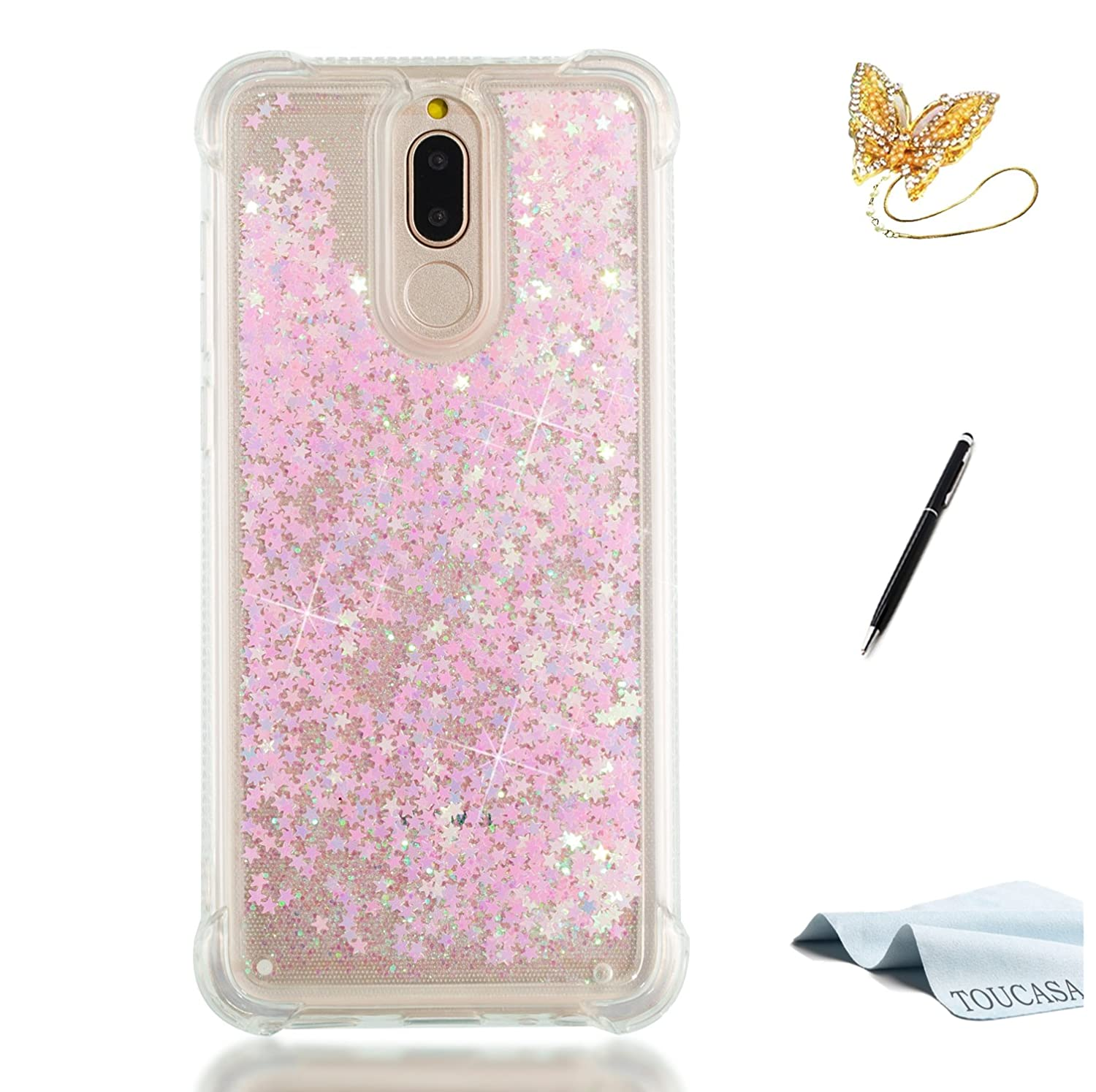 Coque Huawei P8 Lite 2017, Housse Huawei P8 Lite 2017, TOUCASA Anti Choc Silicone Coque, Bling Mince Souple Premium Hybrid Crystal Clear Flex Soft Gel Cover Skin Extra Slim Cristal Clair Gel TPU Neuf Style Brillant Bling Glitter Sparkle Love Star Safe Desi