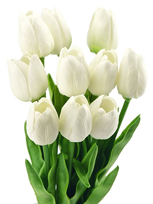 FiveSeasonStuff 10 Stems of Real Touch Tulip Artificial Flowers Bouquet Perfe...