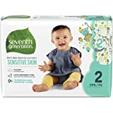 Seventh Generation Baby Diapers, Free & Clear for Sensitive Skin with Animal Prints, Size 2, 180 count (Packaging May Vary)