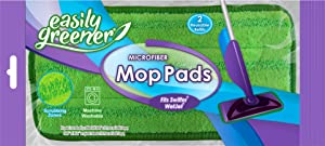 Swiffer WetJet Compatible, Microfiber Mop Pads by Easily Greener, Reusable Refills for Wet Jet, 2 Count