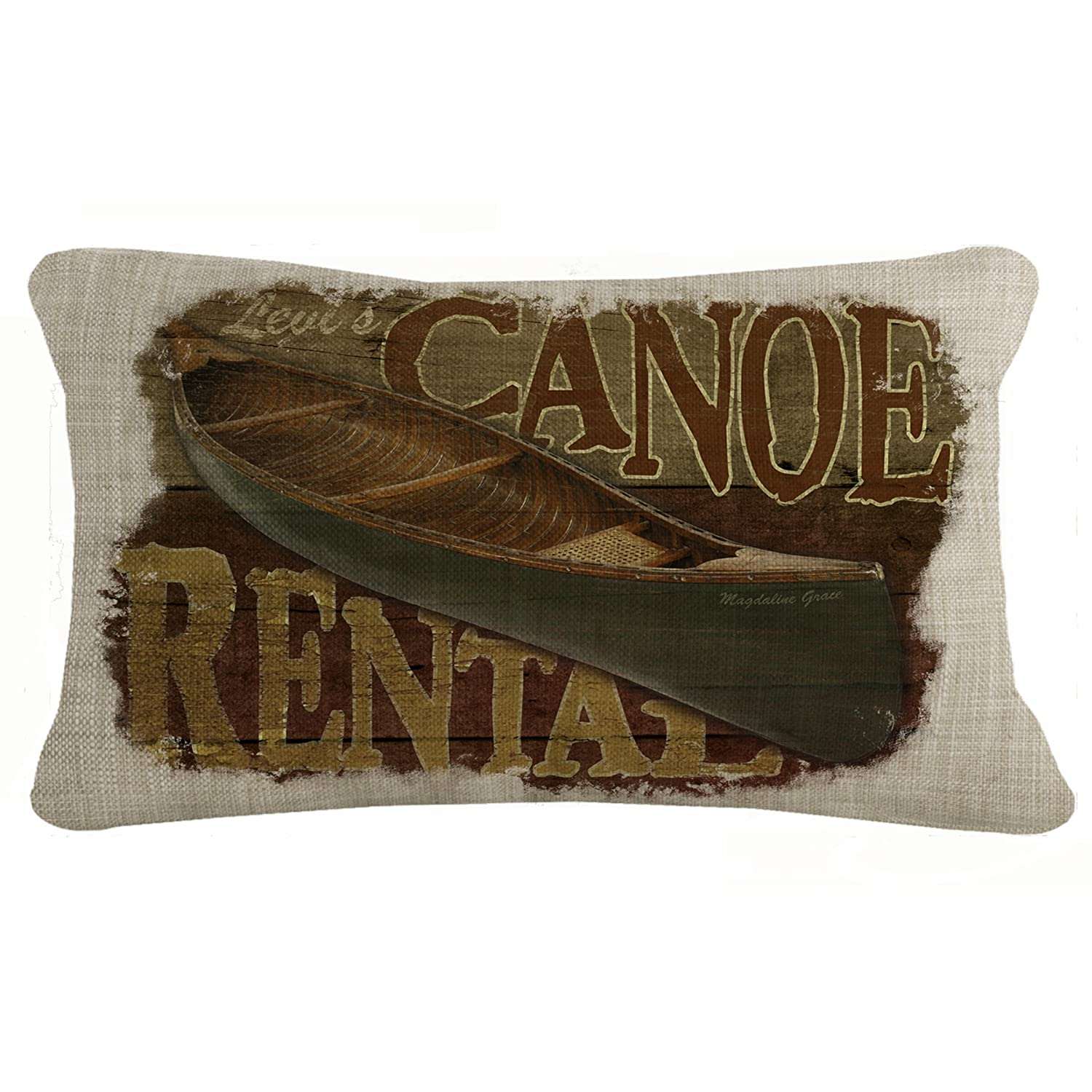 Heritage Lace Canoe Rental Lodge Hollow 12 X 20 Natural Pillow Cover