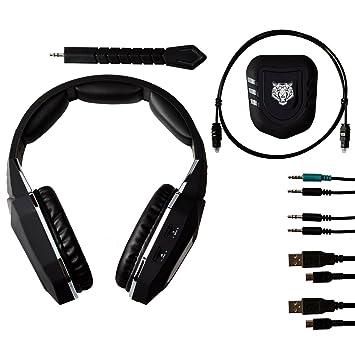 Mcbazel Auriculares inalámbricos de juegos inalámbricos de micrófono 2.4GHz para PS4 / PS3 / Xbox One / Xbox 360 / PC / Mac / TV: Amazon.es: Electrónica