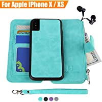 iPhone X/Xs Case, Modos Logicos [Detachable Wallet Folio][2 in 1][Zipper Cash Storage][Up to 14 Card Slots 1 Photo Window] Premium PU Leather Purse Clutch with Removable Inner Magnetic TPU Case - Teal