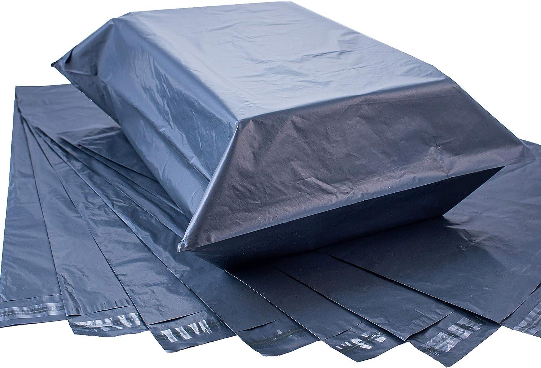 Sobre de plástico grande para envío y embalaje, extra fuerte, polietileno autosellado, color gris, 43 cm x 60 cm