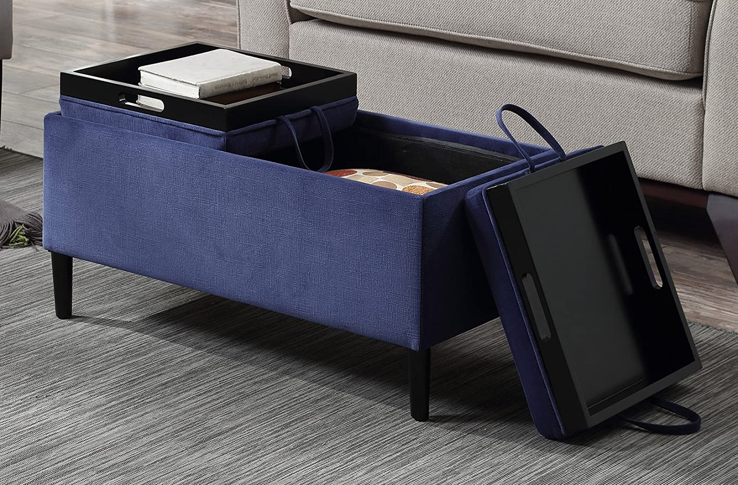 Convenience Concepts 143042BE Designs4Comfort Magnolia Storage Ottoman with Trays, Blue Fabric