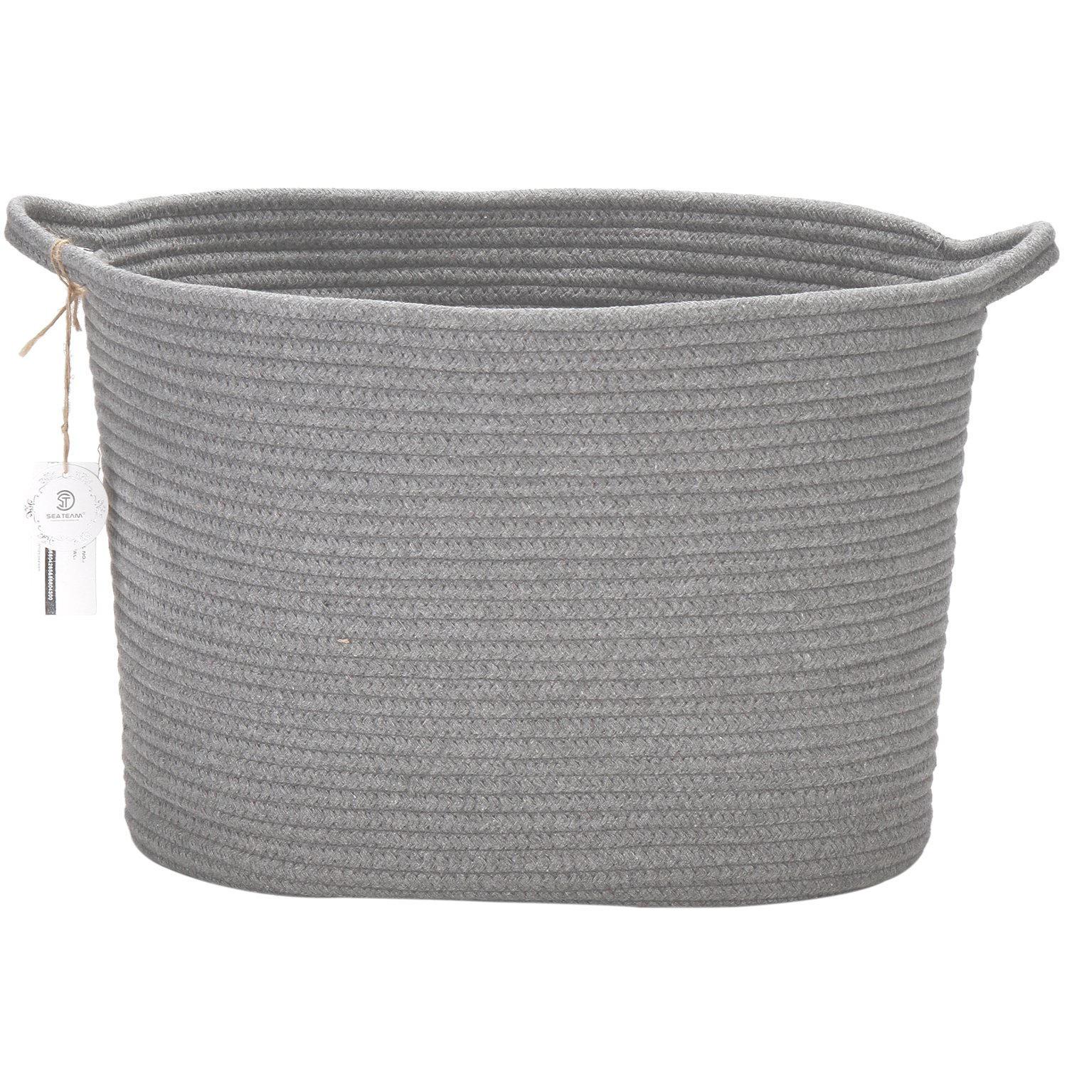 Sea Team 14' x 9' x 11' Oval Natural Cotton Thread Woven Rope Storage Basket Bin Hamper with Handles for Nursery Kid's Room Storage (Grey)