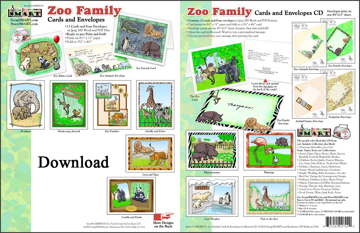 Amazon com: ScrapSMART - Zoo Family Cards & Envelopes: Software