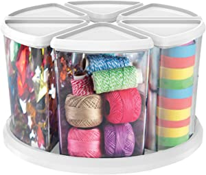 "Deflecto Rotating Carousel Craft Storage Organizer, 360 Spin, 6-Canister Configuration, Clear, White Lids, 11 1/8""W x 6 5/8""H x 11 1/8""D (3900CR)"