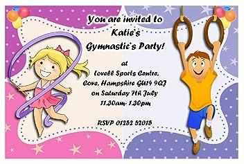 10 Personalised Gymnastics Girls Boys Birthday Party Invitations N107