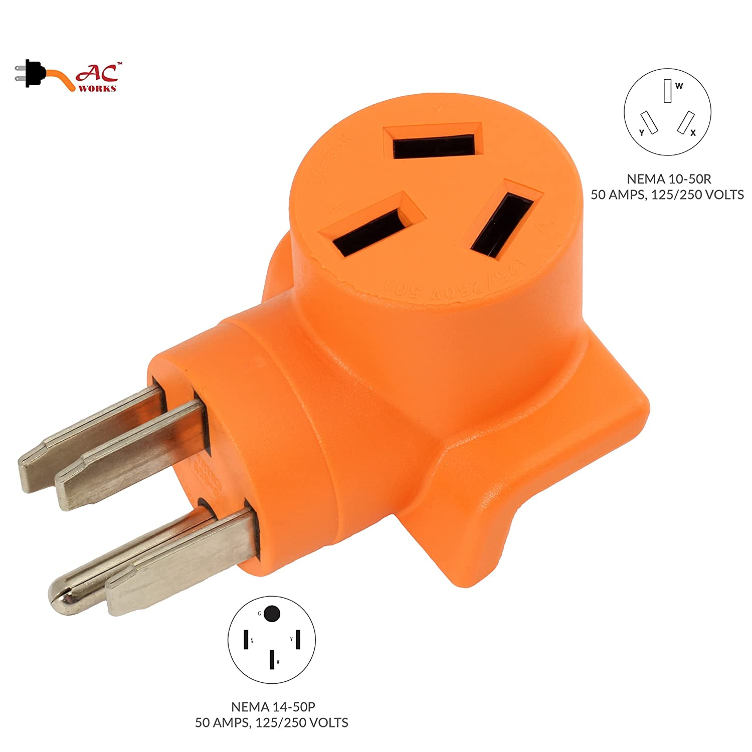 AC WORKS [WD14501050] 10-50 Welder Adapter NEMA 14-50P 50Amp RV/ Range/  Generator Male Plug to 10-50R Welder outlet Adapter - - Amazon.com