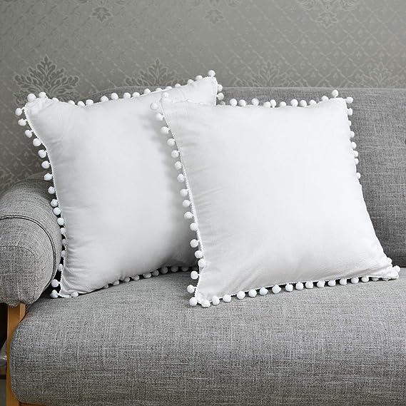Tealp Pom Pom Cushion Cover Vintage Design 100 Cotton Pillow Case White 2pcs Home Decor Pillow Cover 18x18inch 45x45cm Amazon Co Uk Kitchen Home