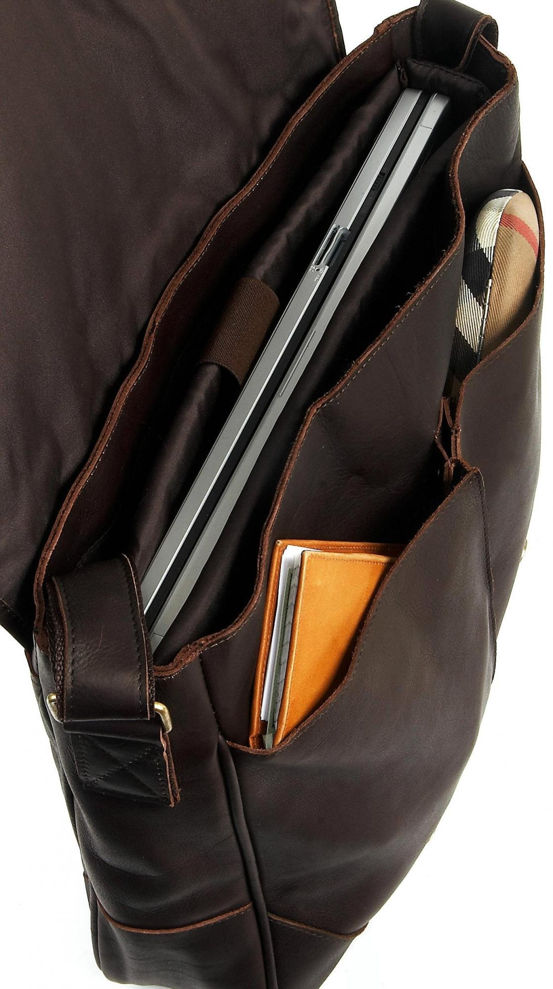 Claire Chase Sorrento Computer Messenger, Distressed Brown, One Size