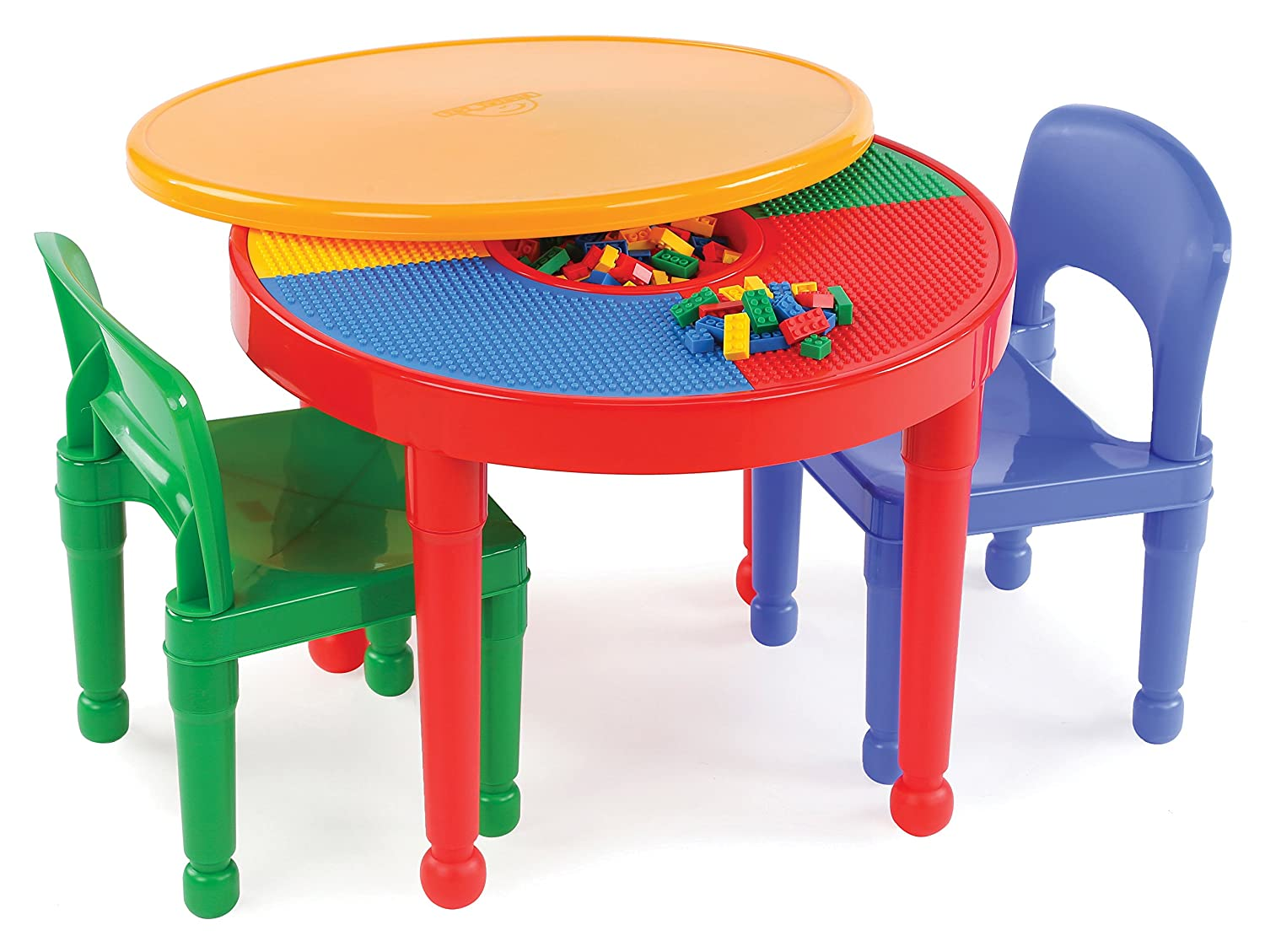 Tot Tutors Kids 2-in-1 Plastic Building Blocks-Compatible Activity Table and 2 Chairs Set