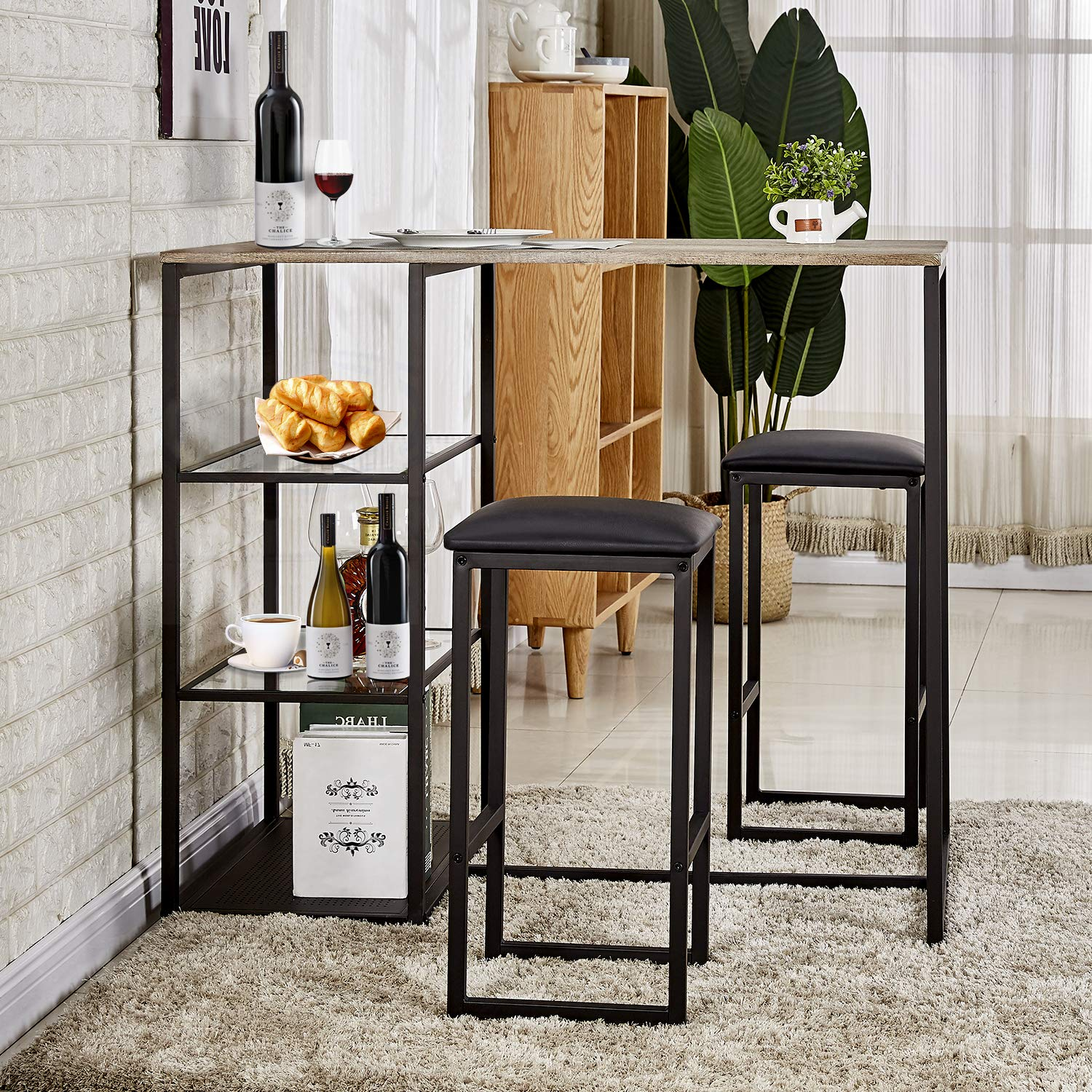 VECELO 3-Piece Pub Dining Set Table with Cushion Stools