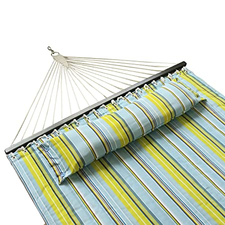 JOO LIFE Hammock Quilted Fabric with Pillow Double Size Spreader, 2 Person Freestanding Quilted Fabric Spreader Bar Hammock, 450 Pound Capacity, Blue