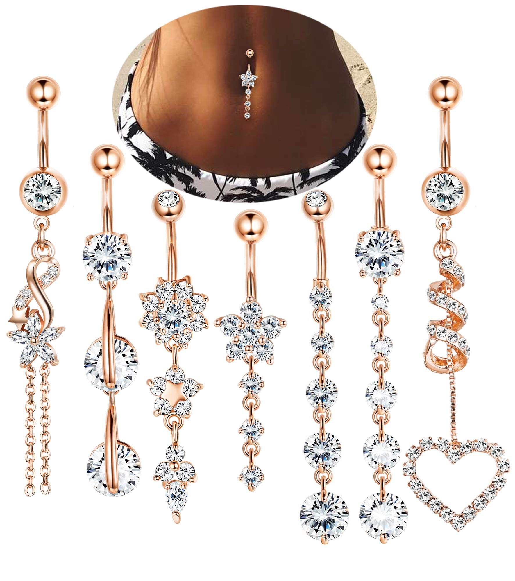 LOLIAS 7 Pcs 14G Dangle Belly Button Rings for Women Girls 316L Surgical Steel Curved Navel Barbell Body Jewelry Piercing,RG by LOLIAS