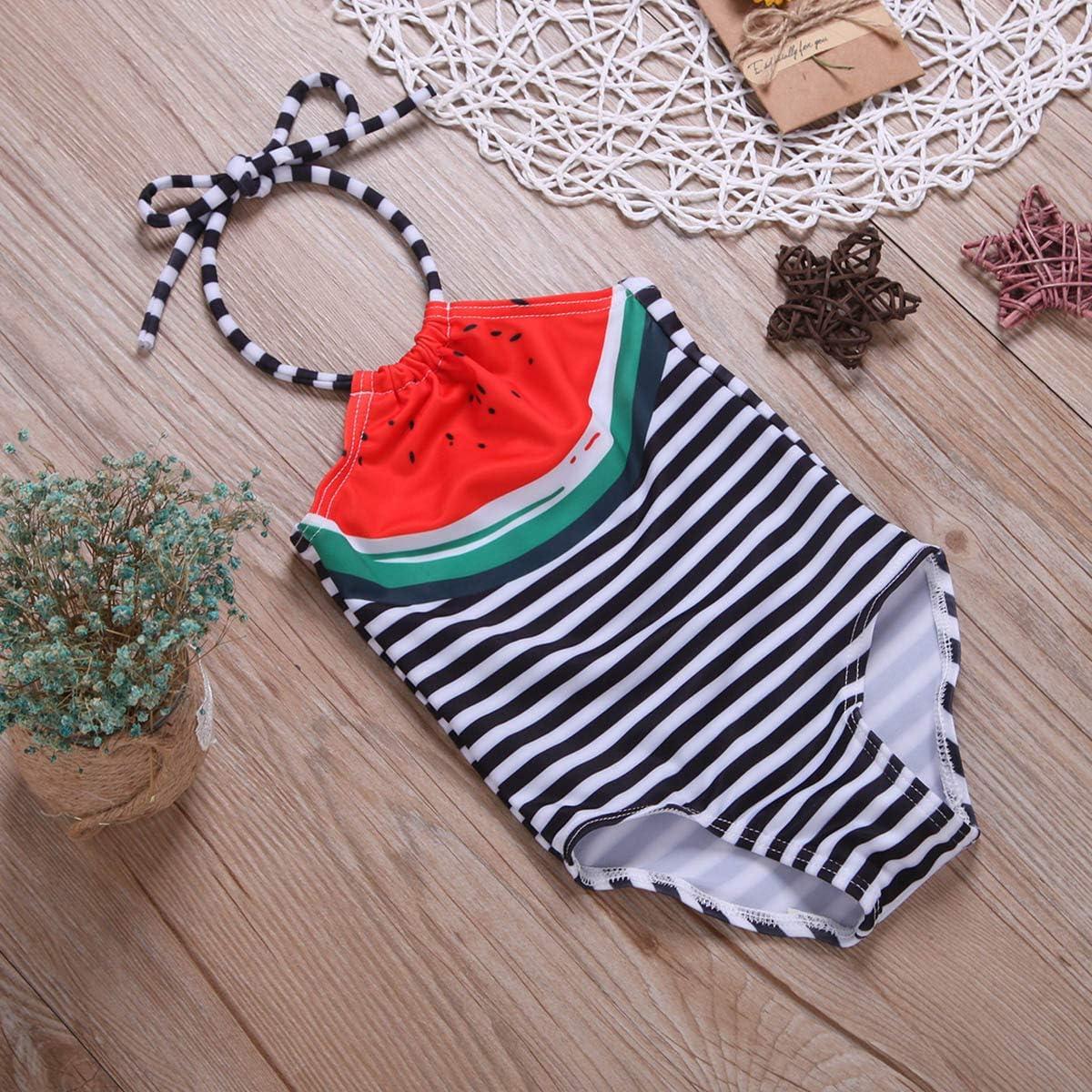 Toddler Kids Baby Girl Swimsuits Striped Straps Bikini Tassel Swimwear Kids Halter Bathing Suit Beach Wear
