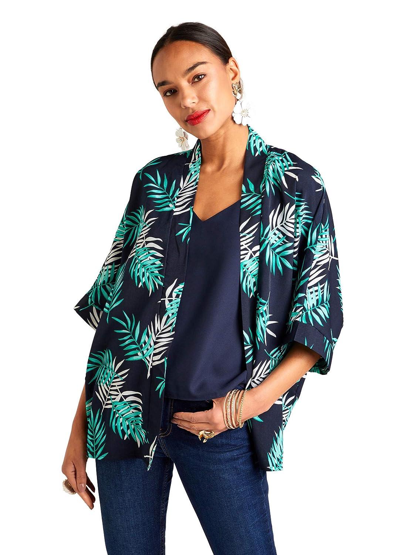 YUMI Navy Palm Leaf Pattern Kimono